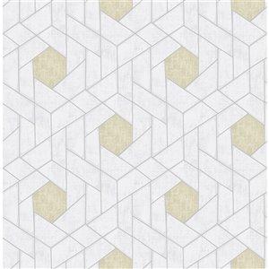 Papier peint géométrique Granada de A-Street Prints, argent