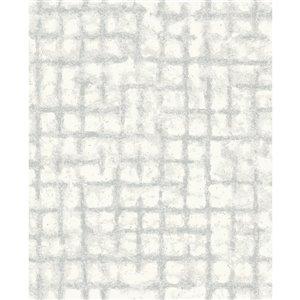 Papier peint géométrique détressé Shea de A-Street Prints, gris pâle