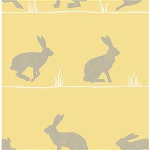 Papier peint Nell Rabbit de Fine Décor, moutard