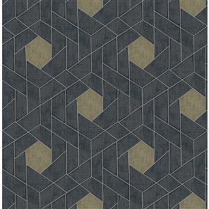Papier peint géométrique Granada de A-Street Prints, charbon