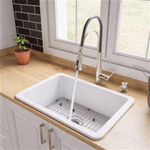 ALFI Brand Drop-in/Undermount Fireclay Kitchen Sink - 27-in x 18-in - White
