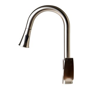 ALFI Brand Square Gooseneck Pull-Out Kitchen Faucet - Brushed Nickel