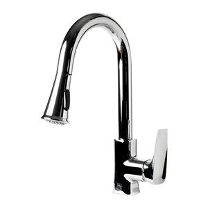 ALFI Brand Square Gooseneck Pull-Out Kitchen Faucet - Polished Chrome