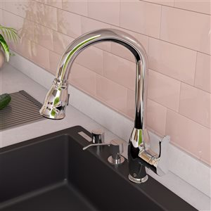 ALFI Brand Traditional Gooseneck Pull-Out Kitchen Faucet - Polished Chrome