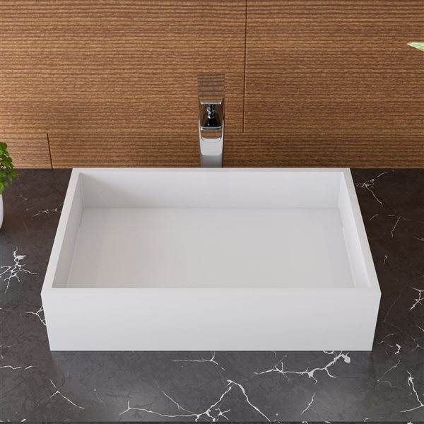 ALFI Brand Solid Surface Rectangular Resin Sink - 20-in x 14-in - White Matte