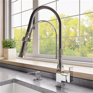 ALFI Brand Square Pull-Out Kitchen Faucet with Black Rubber Stem - Polished Chrome