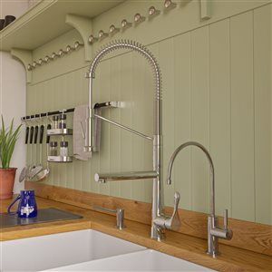 ALFI Brand Double Spout Commercial Spring Pull-Out Kitchen Faucet - Polished Chrome