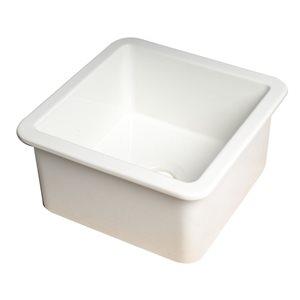 ALFI Brand Drop-in/Undermount Square Fireclay Prep Sink - 18-in x 18-in - White