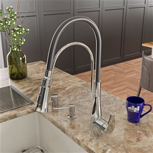 ALFI Brand Pull-Out Kitchen Faucet with Black Rubber Stem - Polished Chrome