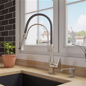 ALFI Brand Pull-Out Kitchen Faucet with Black Rubber Stem - Brushed Nickel