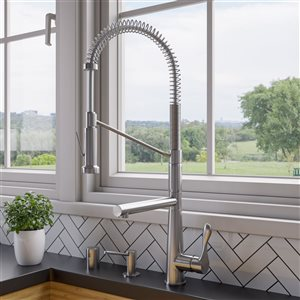 ALFI Brand Double Spout Commercial Spring Pull-Out Kitchen Faucet - Brushed Nickel