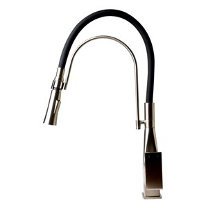 ALFI Brand Square Pull-Out Kitchen Faucet with Black Rubber Stem - Brushed Nickel
