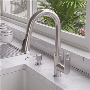 ALFI Brand Gooseneck Pull-Out Kitchen Faucet - Brushed Nickel