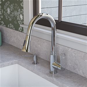 ALFI Brand Gooseneck Pull-Out Kitchen Faucet - Polished Chrome