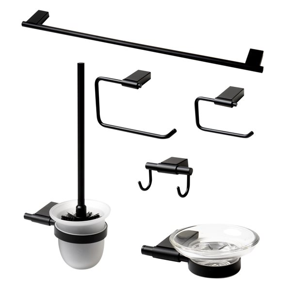ALFI Brand Bath Accessory - Matte Black - 6-Piece Set