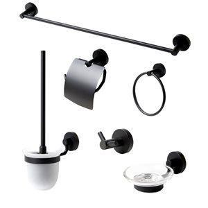 ALFI Brand Bathroom Accessories - Matte Black - 6-Piece Kit