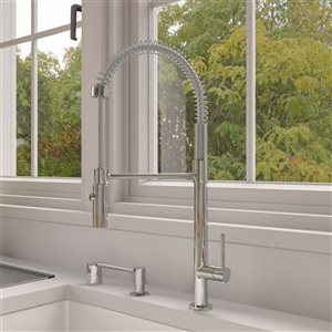 ALFI Brand Commercial Spring Pull-Out Kitchen Faucet - Polished Chrome