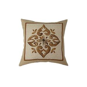 Coussin d'extérieur décoratif carré de Bozanto Inc., 16 po x 16 po, motif fleuri brun/beige