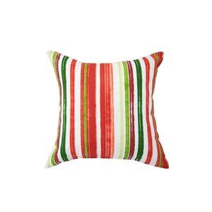 Coussin d'extérieur décoratif carré de Bozanto Inc., 16 po x 16 po, rayure rouge/blanche