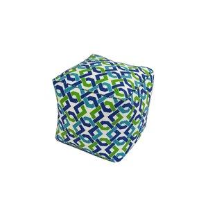 Pouf carré de Bozanto Inc., 18 po x 18 po, bleu et vert