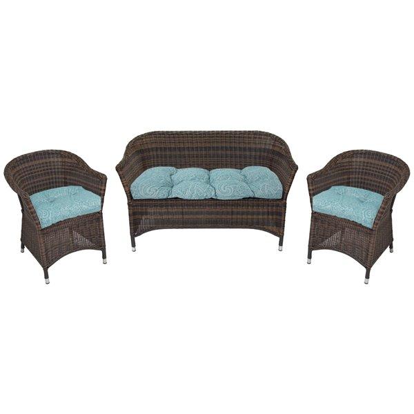 Coussin pour sofa d'extérieur de Bozanto Inc., bleu pâle, ens. de 3