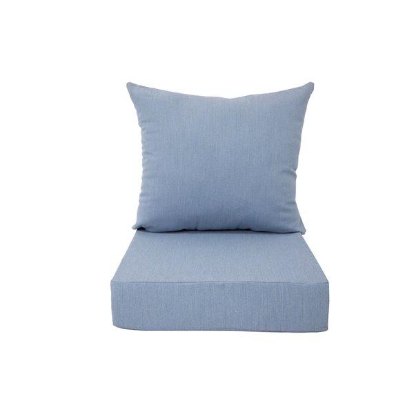 Coussin pour chaise de patio à assise profonde de Bozanto Inc., bleu pâle
