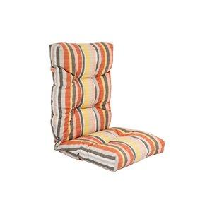 Coussin pour chaise de patio à haut dossier de Bozanto Inc., rayure orange