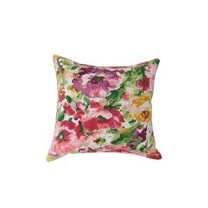 Coussin d'extérieur décoratif carré de Bozanto Inc., 16 po x 16 po, motif fleuri rose/vert