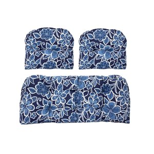 Coussin pour sofa d'extérieur de Bozanto Inc., bleu foncé, ens. de 3