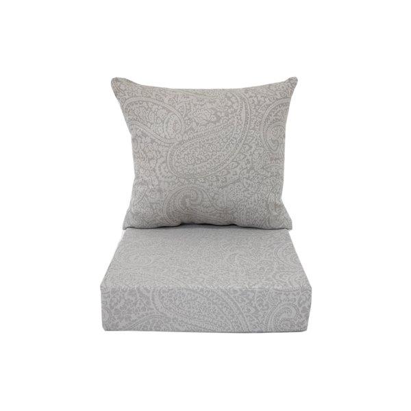 Coussin pour chaise de patio à assise profonde de Bozanto Inc., carré, gris pâle