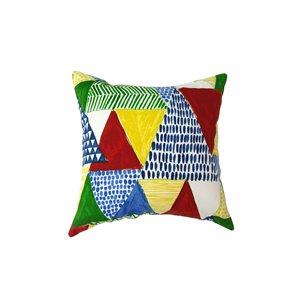 Coussin d'extérieur décoratif carré de Bozanto Inc., 16 po x 16 po, patchwork bleu/rouge