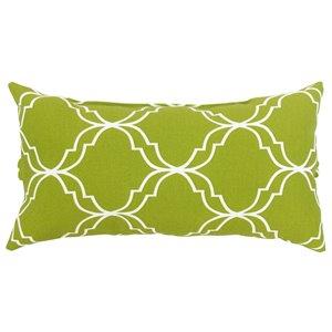 Coussin d'extérieur décoratif rectangulaire de Bozanto Inc., 16 po x 8 po, motif géométrique vert/blanc