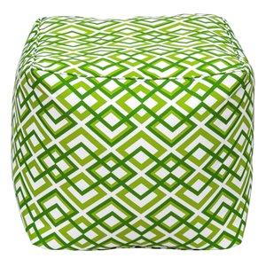 Pouf carré de Bozanto Inc., 18 po x 18 po, vert/blanc