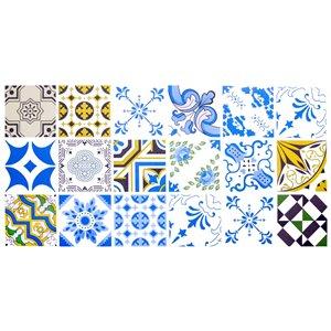 Papier peint en vinyle Falkirk Bhòid par Dundee Deco, motif géométrique, autoadhésif,36 pi², bleu/jaune