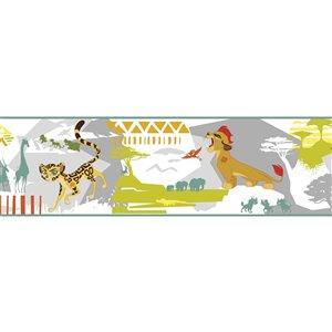 Bordure de papier peint encollé animaux de York Wallcoverings, 9 po x 15 pi, blanc/gris/vert