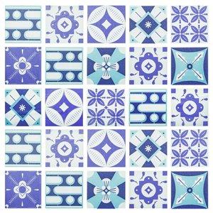 Papier peint en vinyle Falkirk Bhòid par Dundee Deco, motif géométrique, autoadhésif,36 pi², sarcelle/bleu/mauve