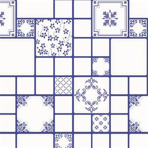 Papier peint en vinyle Falkirk Bhòid par Dundee Deco, motif géométrique, autoadhésif,36 pi², bleu indigo/blanc
