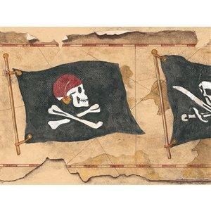 Bordure de papier peint encollé pirate de York Wallcoverings, 9 po x 15 pi, brun/noir/beige