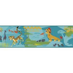 Bordure de papier peint encollé animaux de York Wallcoverings, 9 po x 15 pi, bleu/jaune/vert