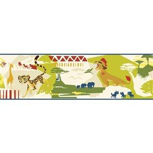 Bordure de papier peint encollé animaux de York Wallcoverings, 9 po x 15 pi, jaune/vert