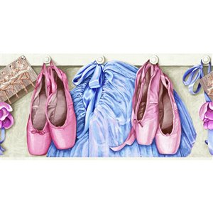 York Wallcoverings Prepasted Ballet Wallpaper Border - 9-in x 15-ft - Pink/Blue/Beige