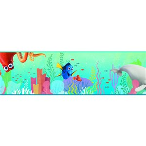 Bordure de papier peint encollé monde sous-marin de York Wallcoverings, 9 po x 15 pi, aqua/vert/rose