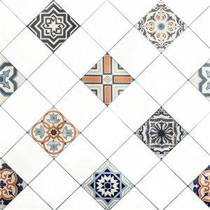 Papier peint en vinyle Falkirk Bhòid par Dundee Deco, motif géométrique, autoadhésif,36 pi², blanc/Grey/beige