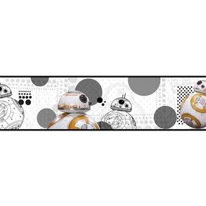 Bordure de papier peint encollé Star Wars de York Wallcoverings, 6 po x 15 pi, blanc/gris/noir