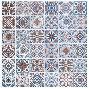 Papier peint en vinyle Falkirk Bhòid par Dundee Deco, motif géométrique, autoadhésif,36 pi², bleu/ocre/blanc