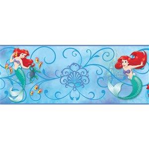 Bordure de papier peint encollé la petite sirène de York Wallcoverings, 9 po x 15 pi, bleu pâle/rouge