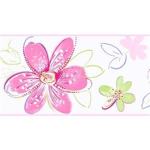 Bordure de papier peint encollé floral de York Wallcoverings, 6,75 po x 15 pi, rose/blanc