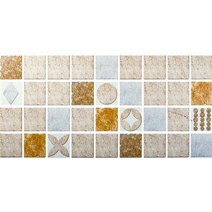 Papier peint en vinyle Falkirk Bhòid par Dundee Deco, motif géométrique, autoadhésif,36 pi², beige/brun
