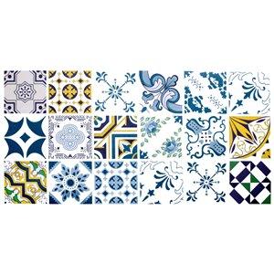 Papier peint en vinyle Falkirk Bhòid par Dundee Deco, motif géométrique, autoadhésif,36 pi², bleu/jaune/vert