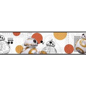 Bordure de papier peint encollé Star Wars de York Wallcoverings, 6 po x 15 pi, blanc/orange/gris